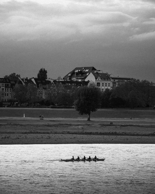 Five people kayaking on the Rhine with trees and houses in the background